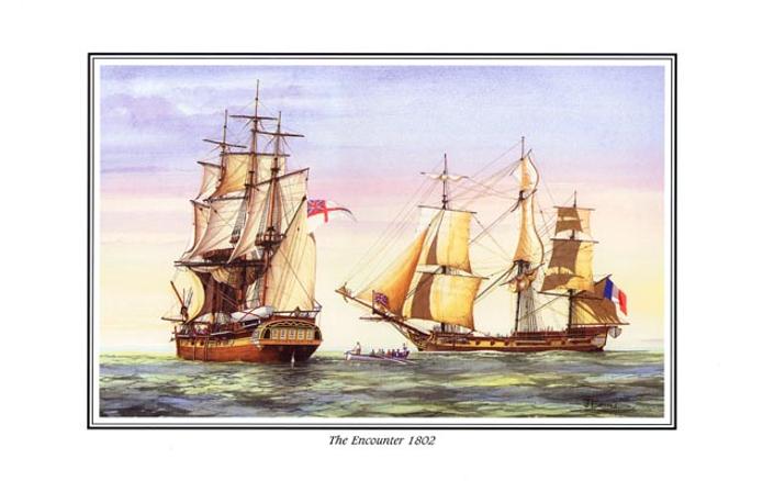 La rencontre entre Matthew Flinders et Nicolas Baudin en 1802, par John Ford