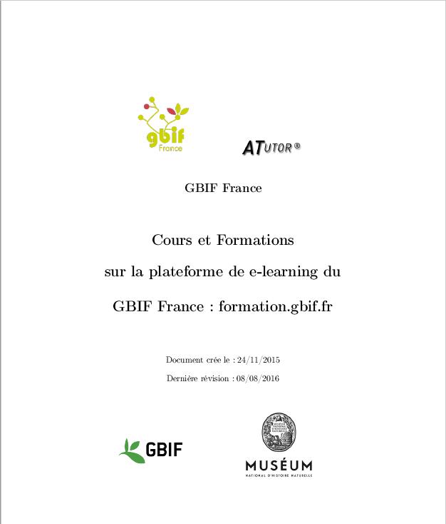 Page de garde du guide d'utilisation de formation.gbif.fr